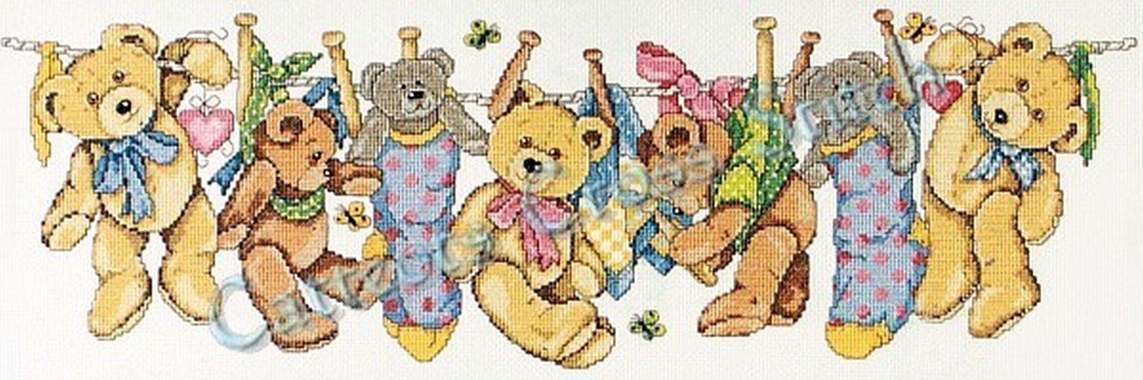 Cross Stitch Pattern Teddies On The Line Teddy Bears 28906032277 Ebay