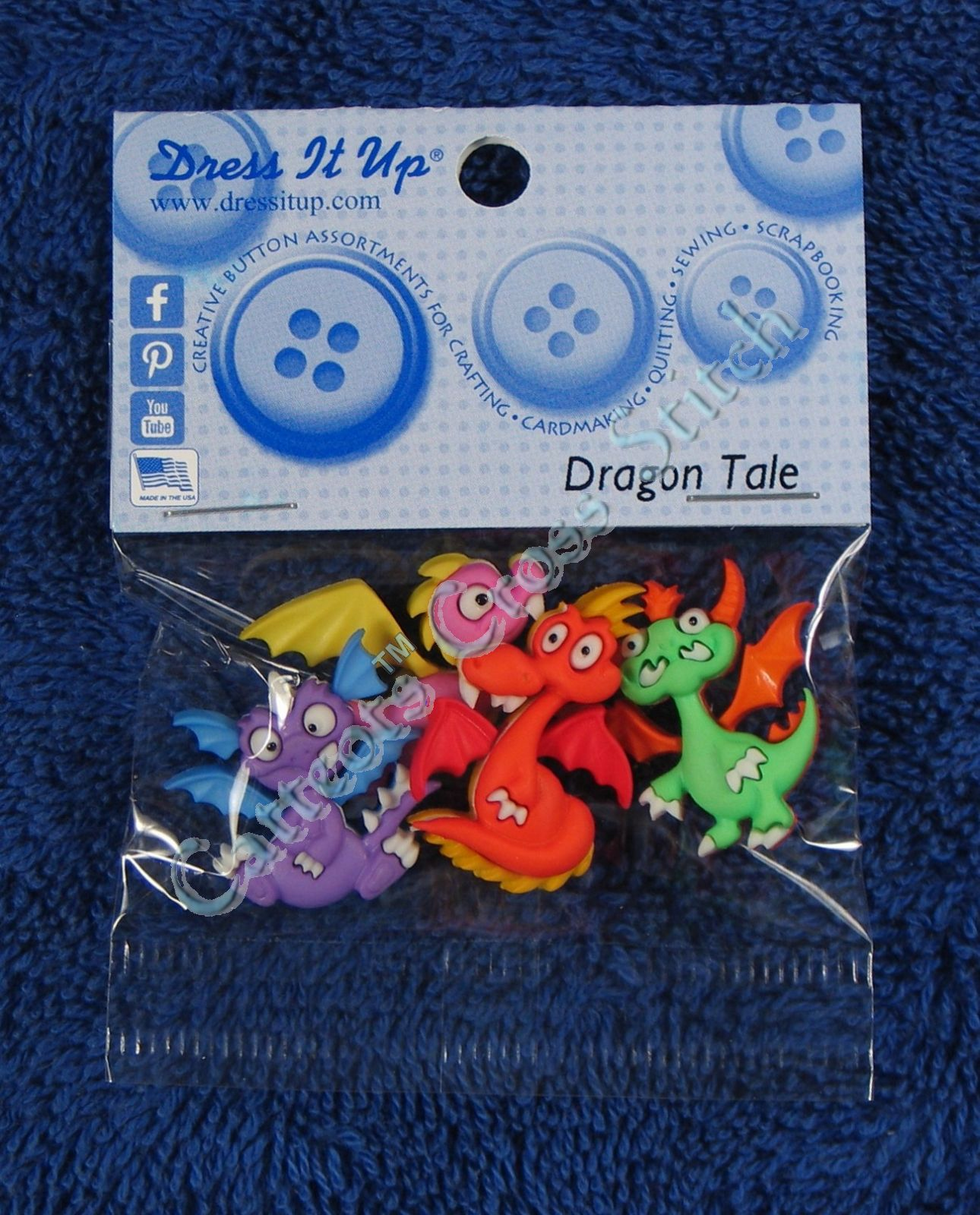 DRESS IT UP BUTTONS ~ DRAGON TALE ~ 4 COLOURFUL DRAGONS ~ PINK ~ GREEN ~ ORANGE+