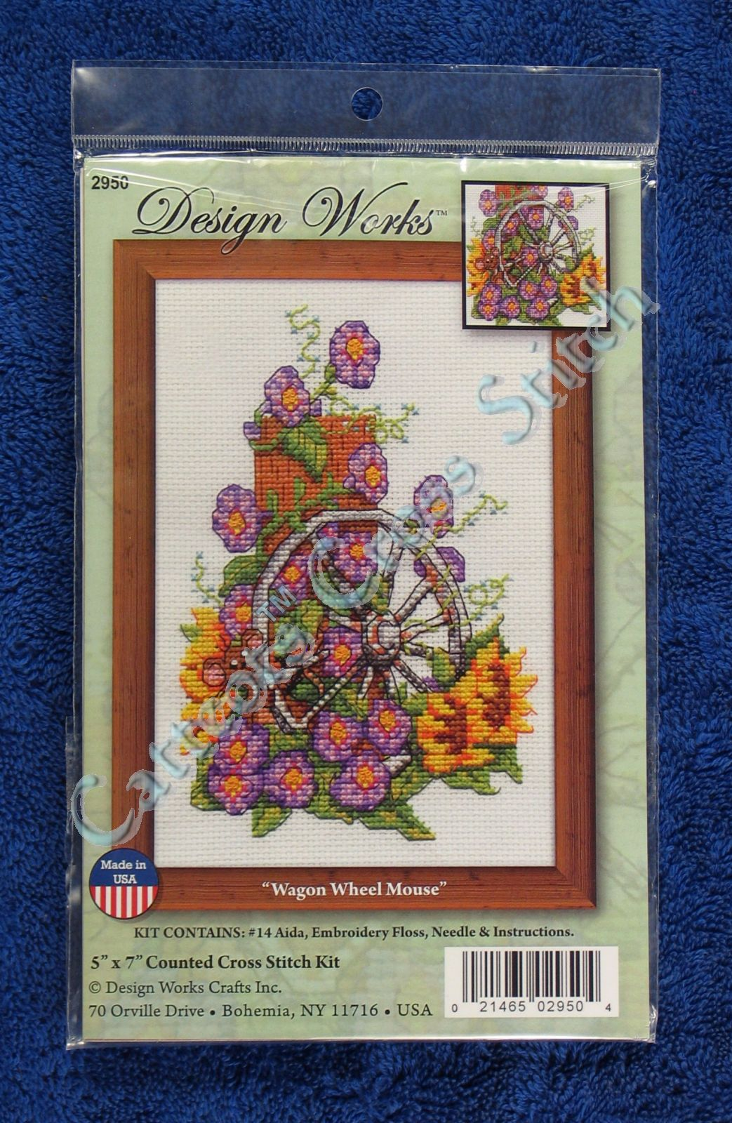 Cross Stitch Kit Wagon Wheel Mouse Bright Flowers Garden 5 X 7 Ebay